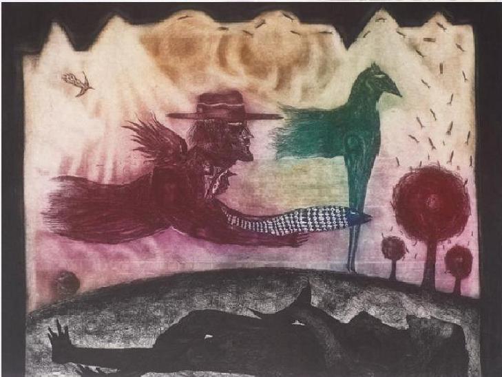 """Comala"", Juan Carlos Mestre, aguafuerte y aguatinta, 49,5 x 64 cm"