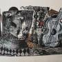 """JUAN CARLOS MESTRE """"El Pensativo Huésped de la Guitarra"""". Litografía, collage y acuarela. Monotipo. 2007"""