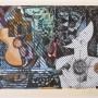 """JUAN CARLOS MESTRE """"El Puerto Azul del Anochecer"""". Litografía, collage y acuarela. Monotipo. 2007"""