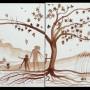 """JORDI GARRIGA """"El Paraíso"""", 2010 acuarela sobre papel (díptico) 32 x 81 cm"""