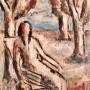 """Ginés Parra, """"Figura en el parque"""", c. 1944 Óleo sobre lienzo, 46 X 38 cm, firmado"""