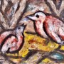 "Ginés Parra, ""Pájaros"", 1946 Óleo sobre papel, 23 X  31 cm, firmado y fechado"