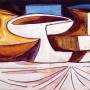Pituco. Bodegón. Técnica mixta sobre papel. 13,3 x 29,7 cm. Década 60.  p.v.p obra enmarcada: 650  € + IVA = 786.5 €
