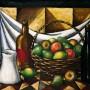 """Pituco. Frutas y botella negra (1987). Óleo sobre lienzo. 50 x 61 cm. Firmado y fechado """"Pituco 87"""" (esquina inferior derecha). Al dorso: Frutas y botella negra. Pituco. Almería 20-II-87   p.v.p obra enmarcada: 4500  € + IVA = 5445 €"""