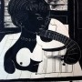Pituco Bodegón cubista (mujer y guitarra). Tinta sobre cartulina. 32,5 x 23 cm. Firmado Pituco (esquina inferior derecha).    p.v.p obra enmarcada: 1400  € + IVA = 1694 €