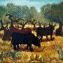 Pituco.-Toros en el campo. c.1970 Óleo sobre lienzo. 46 x 55 cm. Firmado Pituco (esquina inferior derecha).  p.v.p obra enmarcada: 3700 € + IVA = 4477€
