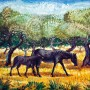 Pituco. Caballos en el campo. Década 1960.  Óleo sobre lienzo. 54 x 65 cm. Firmado Pituco (esquina inferior derecha).   p.v.p obra enmarcada: 4500  € + IVA = 5445 €
