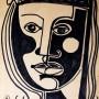 Pituco.  Cara, (1961) Tinta sobre papel, 30.1 x 20.5 cm Firmado y fechado Pituco 61  p.v.p obra enmarcada: 650 € + IVA = 786.5 €