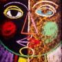 Pituco.  Cara, (1963). 32.5 x 25.5 cm. Tinta grasa sobre cartulina. Firmado Pituco. 49 x 37 cm. p.v.p obra enmarcada: 850€ + IVA = 1028.5€