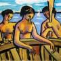 Pituco. Mujeres junto a la barca. (1954). Técnica mixta sobre papel . 23.5 x 30cm. Firmado y fechado Pituco 54.   p.v.p obra enmarcada:1 400  € + IVA = 1694  €