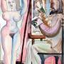Pituco. El pintor y la modelo. Década 1970. Técnica mixta sobre cartulina. 31,8 x 21,2 cm. Firmado Pituco. (esquina inferior derecha).  p.v.p obra enmarcada: 1150  € + IVA =1391.5 €