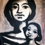 Pituco. Mujer con niño. (1972) Técnica mixta sobre cartulina. 55.5 x 50 cm.  p.v.p obra enmarcada: 1400  € + IVA = 1694 €