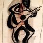 Pituco. Hombre con guitarra. Década 1970. Tinta sobre papel. 20,7 x 15,6 cm p.v.p obra enmarcada:475  € + IVA = 574.75  €