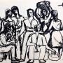 Pituco. Grupo(1965). Tinta sobre papel. 14,4 x 21,3 cm. Firmado y fechado, Pituco 1965. (esquina superior derecha)  p.v.pobra enmarcada: 750  € + IVA = 907.5  €