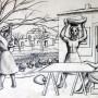 Pituco. Mujeres en el campo (1970). Lápiz sobre cartulina. 19,7 x 27,2 cm. Firmado y fechado: Pituco 1970. (esquina inferior izquierda). p.v.p obra enmarcada: 850  € + IVA = 1028.5  €