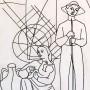 Pituco. Campesinos (1964). Tinta sobre papel. 25 x 15,3 cm. Firmado y fechado Pituco 1964(esquina inferior derecha). p.v.p obra enmarcada: 575  € + IVA = 695.75  €