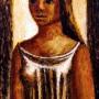 """Pituco. Mujer (1987). Técnica mixta sobre cartulina. 17 x 9 cm. Firmado y fechado """"Pituco 87"""" (esquina inferior derecha). Al dorso: Pituco. Almería 14-X-87 p.v.p enmarcada: 650 € + IVA =786.5"""