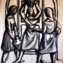Pituco.Tres mujeres con cántaros (estudio para cuadro).1989. Lápiz sobre papel. 52 x 44 cm. p.v.p obra enmarcada : 850 € + IVA = 1028.5 €