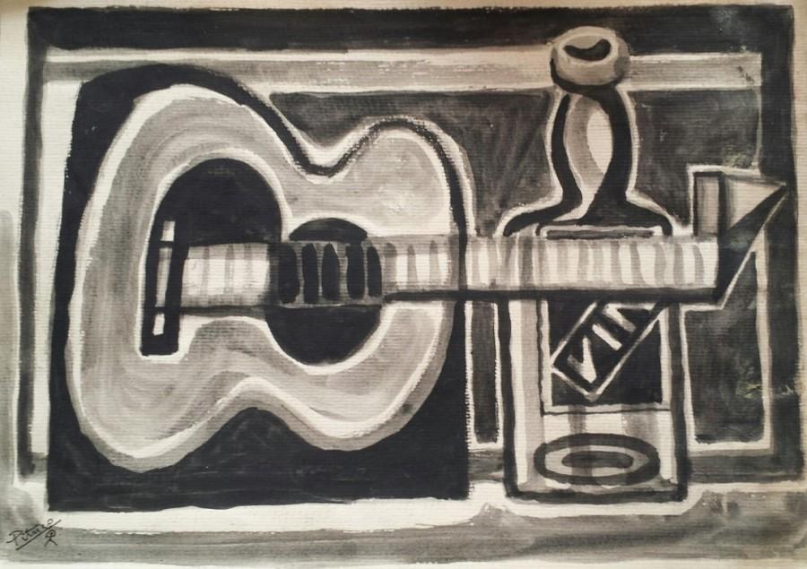 Pituco, Bodegón cubista (guitarra y botella), técnica mixta sobre cartulina, 32,5 x 45 cm