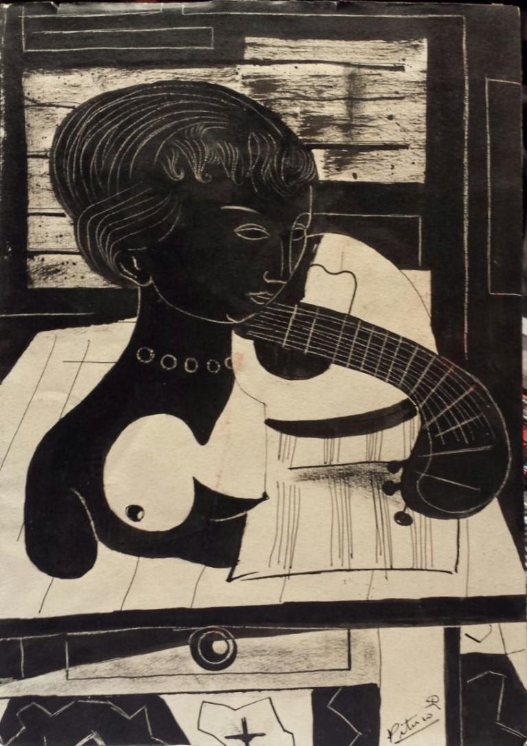 Pituco, Bodegón cubista (mujer y guitarra), tinta sobre cartulina. 32,5 x 23 cm