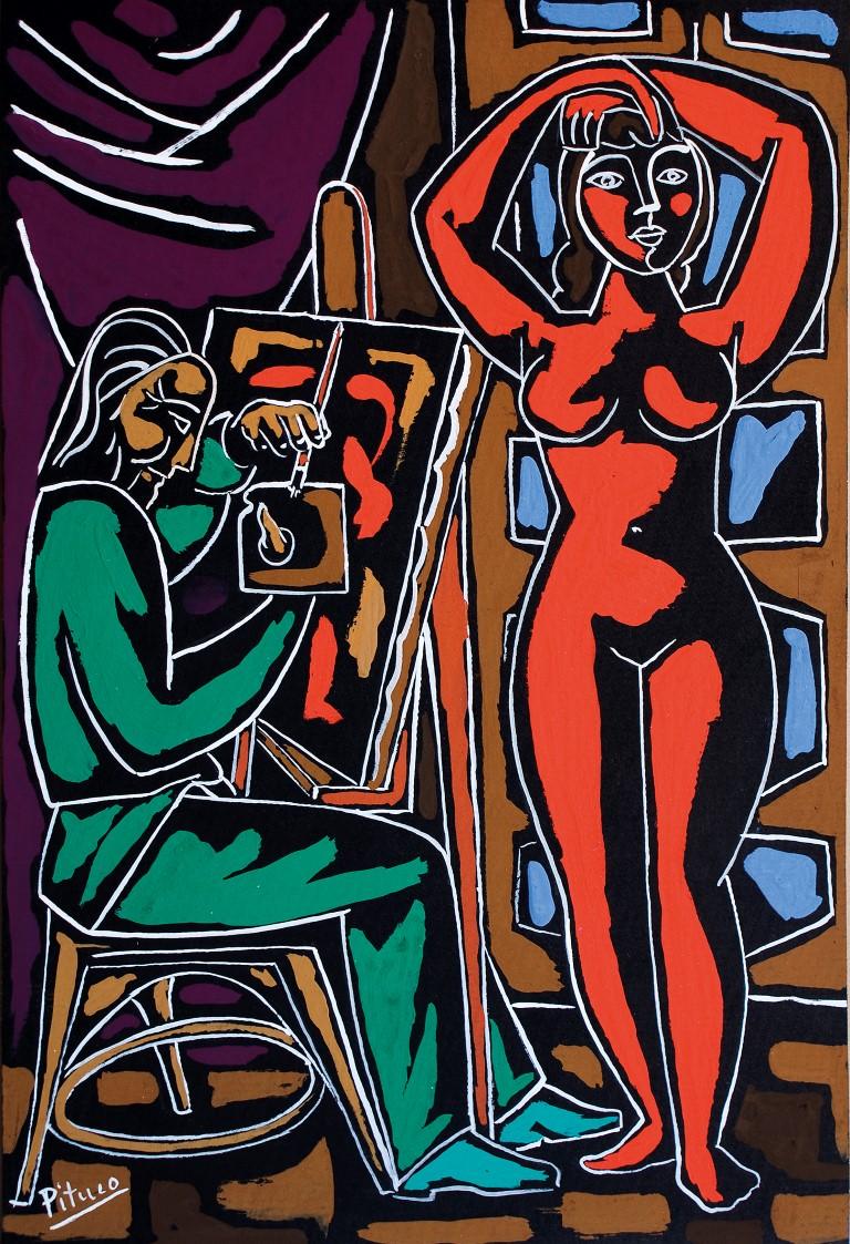 Pituco, El pintor y la modelo, técnica mixta sobre cartulina, 31 x 21,2 cm