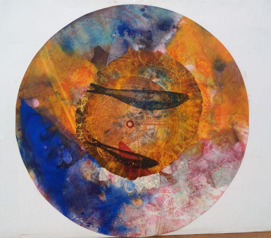 José Manuel Peña, Serie Ultramar, 2017, 46 x 46 cm grabado al aguafuerte, aguatinta, paper art, collagraf