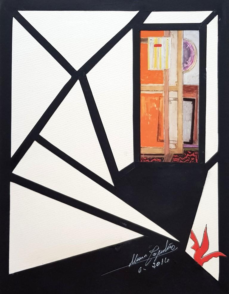 María Capulino, Retazos 85, Homenaje a Capuleto, 2016, téncica mixta sobre cartulina, 32 x 25 cm