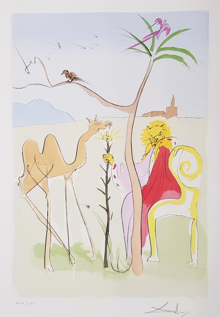 SALVADOR DALÍ, La cour du lion, 1974, Grabado a la punta seca y pochoir Plancha: 57 x 39,5/ Papel Auvergne: 78,5 x 58,5 cm Ejemplar numerado XXIX/CXX y firmado a mano a lápiz por el artista.