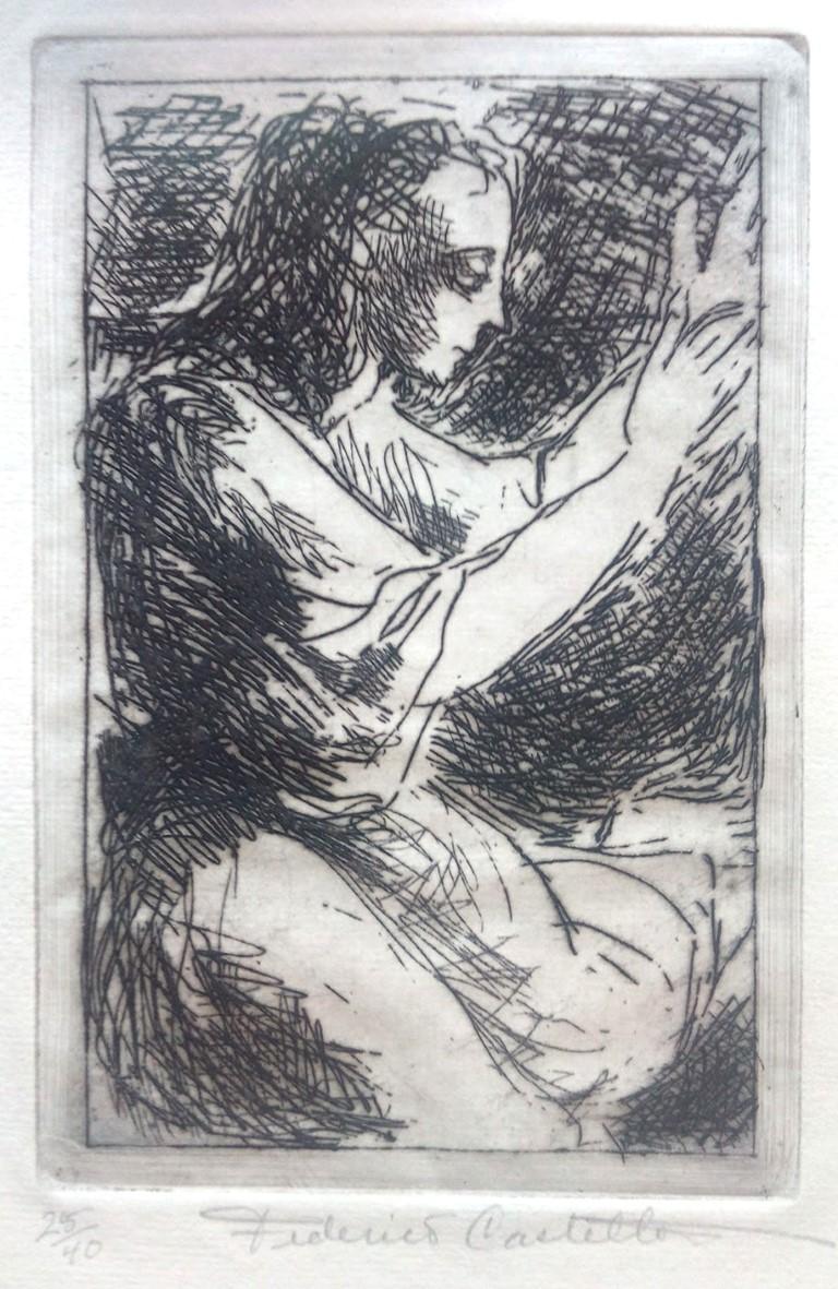 FEDERICO CASTELLÓN, Figure, c.1940, Grabado al aguafuerte.  Plancha 13,9 x 8,8 cm.  Ed. 40 ejemplares. 25/40