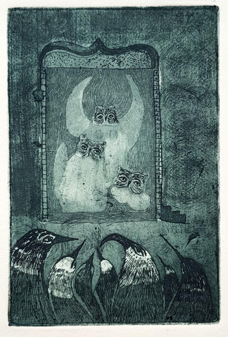 LAIA ARQUEROS, Preludio Lunar 2,  grabado al aguafuerte y aguatinta, 29,5 x 19,3 cm