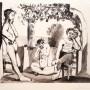 PABLO PICASSO, Bacchanale, 1955, aguafuerte y aguatinta, 250 ejemplares. Ej. 157/250. plancha: 47 x 55,5 cm., papel: 57,5  x 78,5 cm. firmado a lápiz a mano