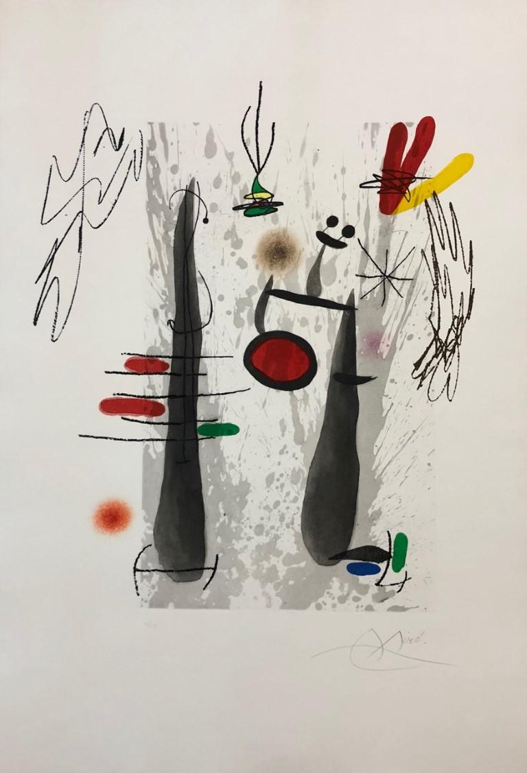 JOAN MIRÓ La larga y la evaporada, 1973 aguafuerte y aguatinta, 91,5 X 63 cm Edición: 50 Ejemplares. Ejemplar 6/50, firmado a lápiz p.v.p: 11300 € + IVA = 13673 €