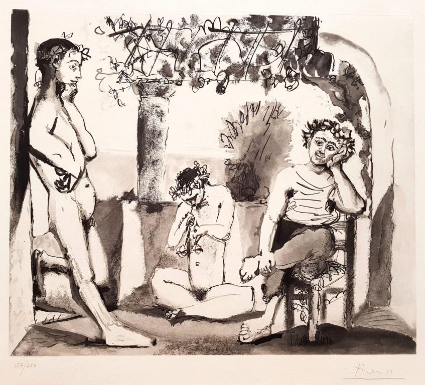 PABLO PICASSO, Bacchanale, 1955 Grabado al aguafuerte y aguatinta 250 ejemplares. Ejemplar 157/250. firmado a lápiz Medidas: plancha: 47 x 55,5 cm/papel: 57,5 x 78,5 cm. Realizado en el Atelier Crommelynck, París. p.v.p: 15000 € + IVA = 18150 €