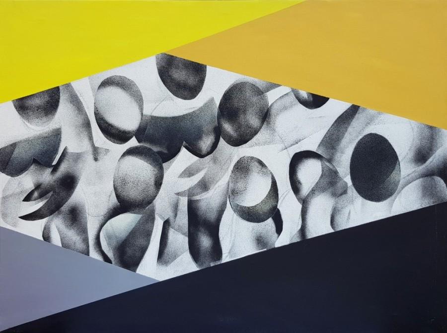 Connie Westendorp, Abstracción figurativa 2, 1994, óleo y mixta sobre tela, plantillas y difusor, 97 x 130 cm.