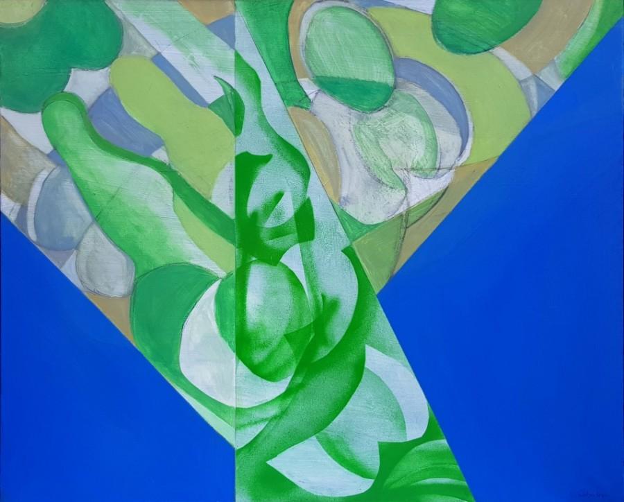 Connie Westendorp, Abstracción figurativa 3, 1994, óleo y mixta sobre tela, plantillas y difusor, 81 x 100 cm.
