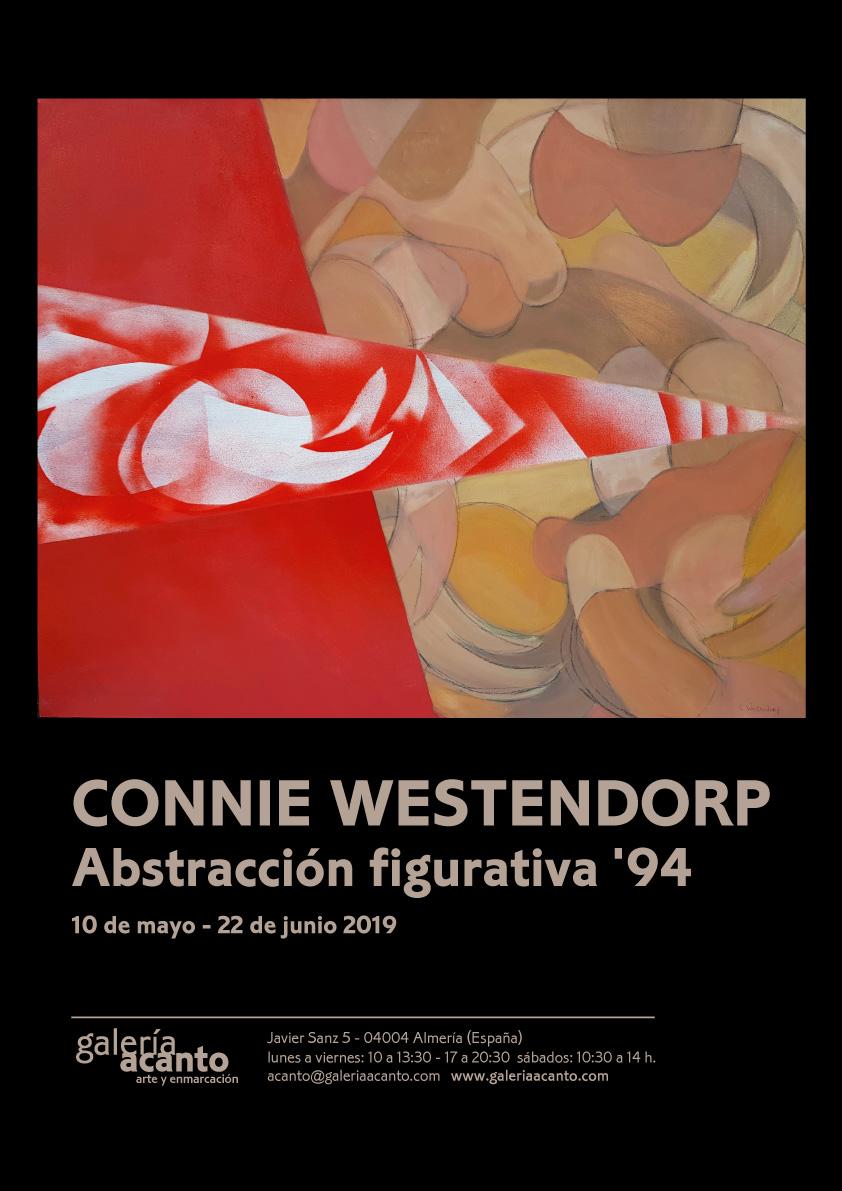 Imagen Cartel: Connie Westendorp, Abstracción figurativa 1, 1994, óleo y mixta sobre tela, plantillas y difusor, 81 x 100 cm.
