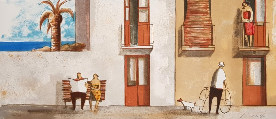 "Didier Lourenço, ""Charlas"", 2007, litografía, 40 x 92 cm"