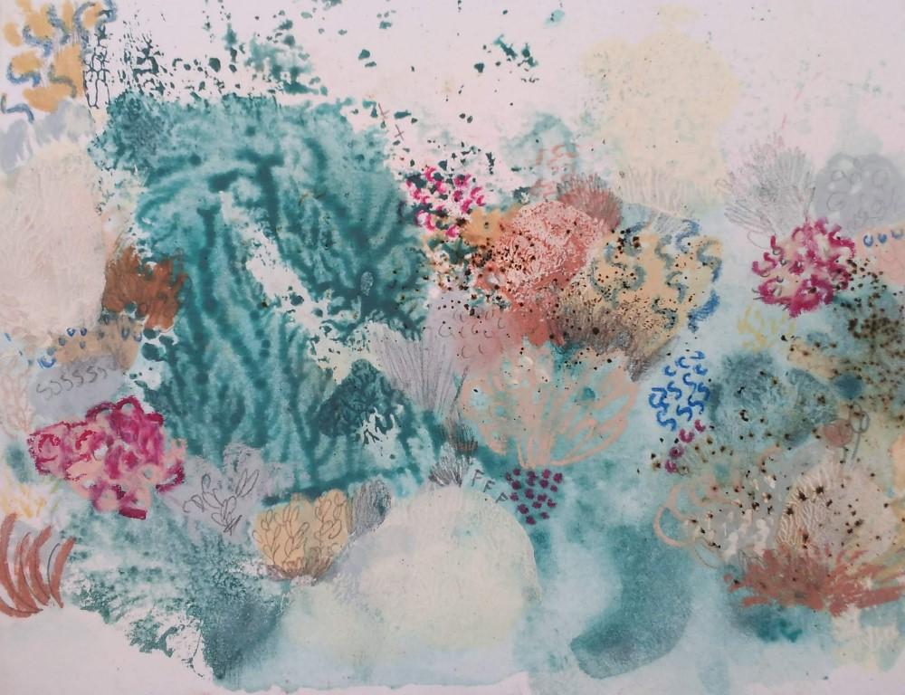 Mari Moreno, Serie en el fondo del Cabo, 2018, Técnica mixta sobre cartón, 16 x 21 cm.