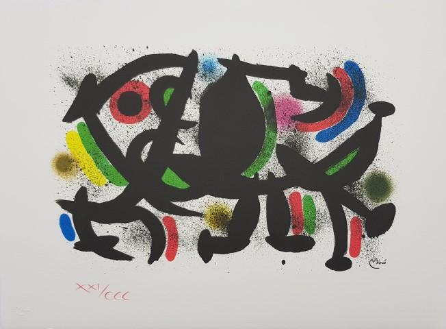 JOAN MIRÓ, litografía firmada en plancha, 43,5 x 59 cm, edición de 300 ejemplares numerados a lápiz en romano, ejemplar XXI/CCC, con sello en seco de ediciones Polígrafa, Barcelona, 1983, p.v.p. 320 €