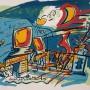JAVIER MARISCAL, 5 aniversario, Serigrafía en 7 colores. Edición: 75 ejemplares. Ej. 15/75,  firmada a mano. Medidas: 56 x 76 cm. p.v.p: 300 €