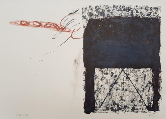 ANTONI TÀPIES, Table,1967, litografía original firmada a mano, 44,5 x 63 cm, 75 ejemplares numerados y firmados. Ejemplar 74/75